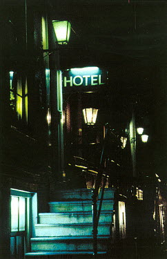 Ute Klaphake HOTEL AT NIGHT LIT STREET Specific Cities/Towns