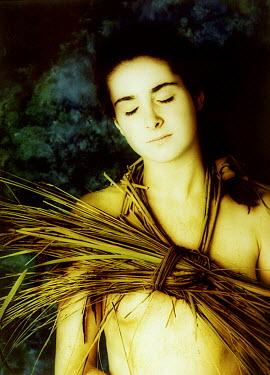 Dawn Johnson WOMAN WITH GRASS AROUND NECK Women
