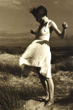 Jon Hatfull WOMAN BEING BLOWN IN WIND Women