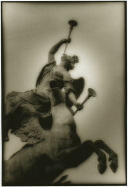 Michael Trevillion STATUE OF ANGEL AND WINGED HORSE Statuary/Gravestones