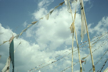 Bruce Chatwin PRAYER FLAGS WITH CLOUDS IN BLUE SKY Miscellaneous Objects