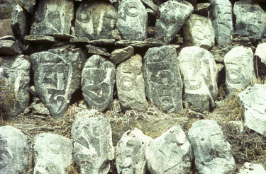 Bruce Chatwin CLOSE UP OF ROWS OF MANI STONES Miscellaneous Objects