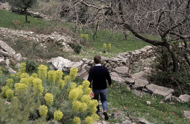 Bruce Chatwin MAN WALKING BY STONE WALLS IN COUNTRYSIDE Men
