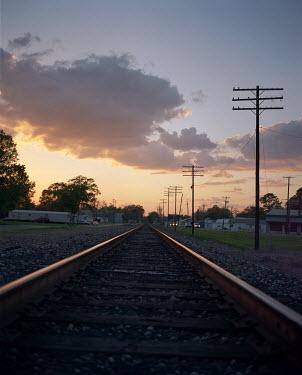 Lindsey Hopkinson RAILWAY TRACK AT DUSK Railways/Trains