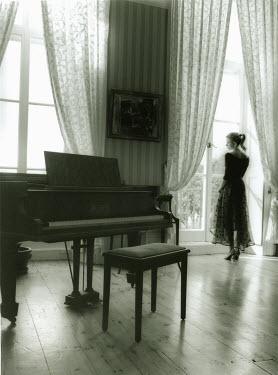 Lesley Aggar PIANO AND WOMAN LOOKING OUT OF WINDOW Women