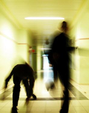 Claire Morgan CHILDREN RUNNING THROUGH CORRIDOR Children