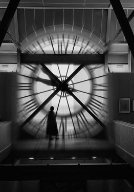 Douglas Ethridge SILHOUETTE OF WOMAN NEXT TO GIANT CLOCK Women