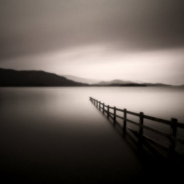 Steve Gosling MISTY LAKE WITH WOODEN FENCE Lakes/Rivers