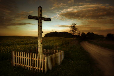 Marcin Bublewicz WOODEN CRUCIFIX BY ROAD Statuary/Gravestones