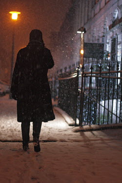 Myles Wickham WOMAN IN FUR COAT IN SNOW Women