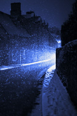 Helen Green SNOWING ON CITY STREET Specific Cities/Towns