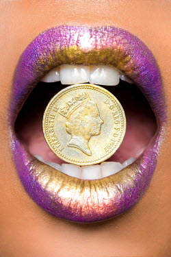 Sarah Louise Johnson WOMAN'S LIPS WITH POUND COIN Body Detail