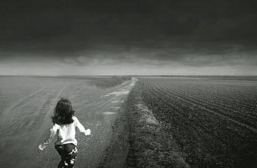 Chris Friel GIRL RUNNING THROUGH FIELD Children