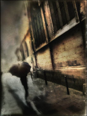 Gary Isaacs WOMAN WITH UMBRELLA IN CITY Women