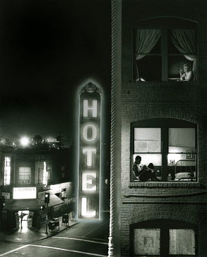Peter Liepke HOTEL IN AMERICA AT NIGHT Miscellaneous Buildings