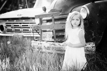 Martha Schuster LITTLE GIRL BY CAR PARKED TRUCK Children