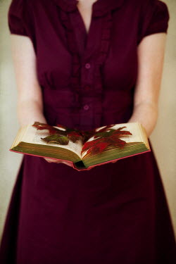 Susan Fox WOMAN HOLDING OPEN BOOK WITH LEAVES Women
