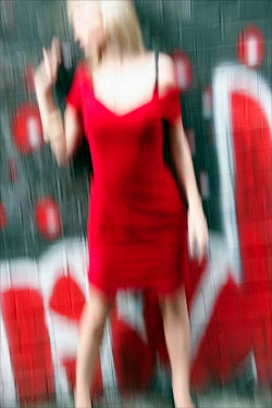 David Gibson WOMAN IN RED BY GRAFFITI Women