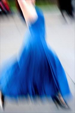 David Gibson WOMAN RUNNING IN BLUE DRESS Women