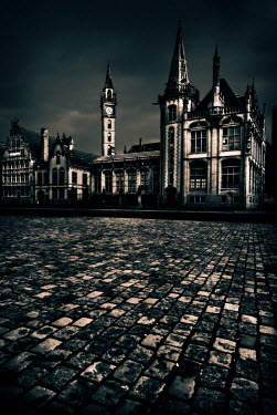 Michael Trevillion ORNATE BUILDING BY COBBLE ROAD Specific Cities/Towns