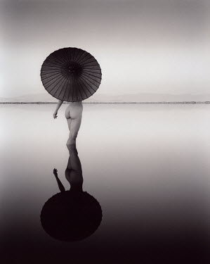 Dennis Mecham NUDE WOMAN IN LAKE WITH PARASOL Women