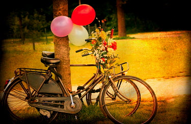 Laura Franco BICYCLE WITH BALLOONS AND FLOWERS Miscellaneous Transport
