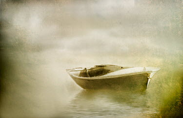 Laura Franco MOORED BOAT ON MISTY WATER Lakes/Rivers