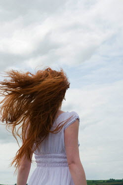 Rebecca Knowles WOMAN RED HAIR IN WIND Women