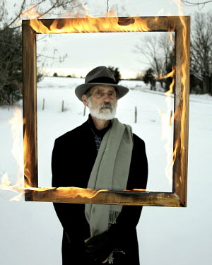 Stephen Carroll OLD MAN IN SNOWY FIELD WITH BURNING FRAME Old People