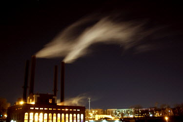 Amy Ballinger INDUSTRIAL BUILDING AT NIGHT WITH SMOKING CHIMNEYS Miscellaneous Buildings