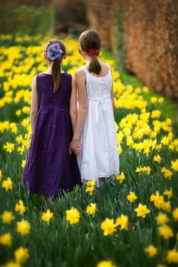 Lee Avison GIRLS HOLDING HANDS IN DAFFODIL PATCH Children