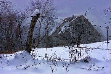 Ron Jones BARN IN SNOWY FIELD Snow/ Ice