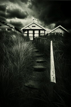 David Baker STEPS TO BEACH HUT IN STORMY WEATHER Houses