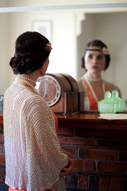 Hilary Walker 1920s FLAPPER LOOKING IN MIRROR Women