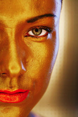 Rolf Brenner WOMAN WITH FACE PAINTED GOLD AND RED LIPS Women