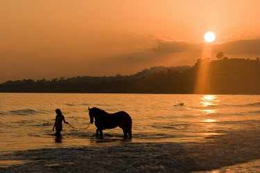 Nick Sokoloff SILHOUETTED WOMAN AND HORSE IN WATER Women
