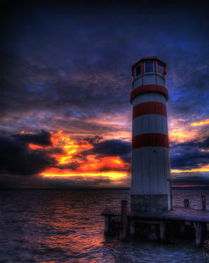 Ricardo Demurez LIGHTHOUSE WITH STORMY SKY Miscellaneous Buildings