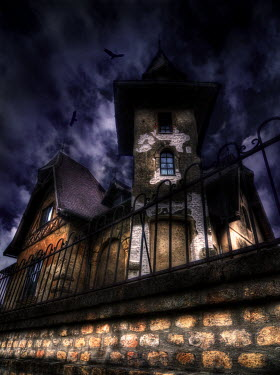 Ricardo Demurez GOTHIC BUILDING AT NIGHT Houses