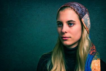 Tom Meadow blonde woman head face scarf Women
