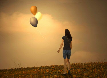 Laura Franco GIRL ON HILL WITH BALLOONS Women