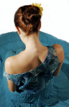 Ilona Wellmann RED HAIRED WOMAN SITTING BLUE DRESS Women