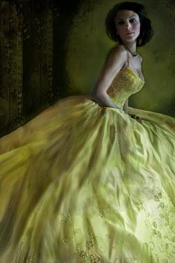 Dana France DARK HAIRED WOMAN BIG YELLOW DRESS Women