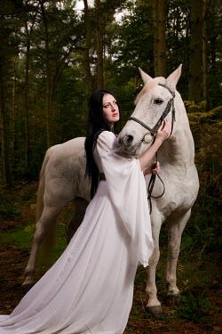 Paul Webster WOMAN DRESS WHITE HORSE FOREST Women