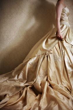 Susan Fox WOMAN WEARING CREAM SILK WEDDING DRESS Women