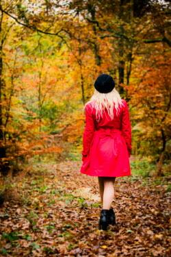 Paul Webster BLONDE WOMAN WALKING FOREST AUTUMN Women