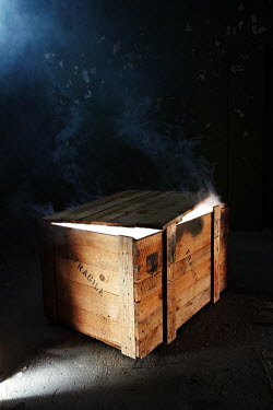Andy & Michelle Kerry WOODEN CRATE WITH SMOKE Miscellaneous Objects