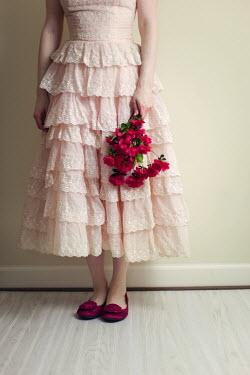 Susan Fox WOMAN IN LACY DRESS HOLDING FLOWERS Women