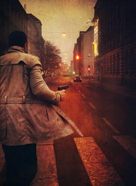 Mark Owen man running on street holding gun Men