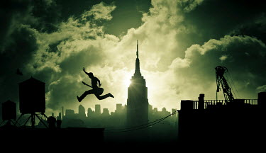 Dylan Kitchener MAN WITH GUITAR JUMPING OVER NEW YORK ROOFTOPS Men