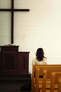 Susan Fox DARK HAIRED WOMAN SITTING IN CHURCH Women